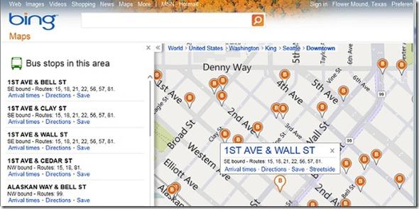Bing Maps real time transit map app