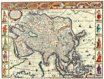 Old Maps John Speed Asia with the Islands adioyning described 1626