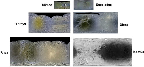 Paul Schenk: global colour mosaics of six mid-sized Saturnian moons