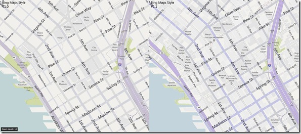 Bing Maps Style V1.1: Zoom 16, Seattle Streets