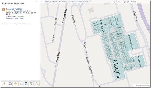 Bing's new mall maps: Roosevelt mall in NY