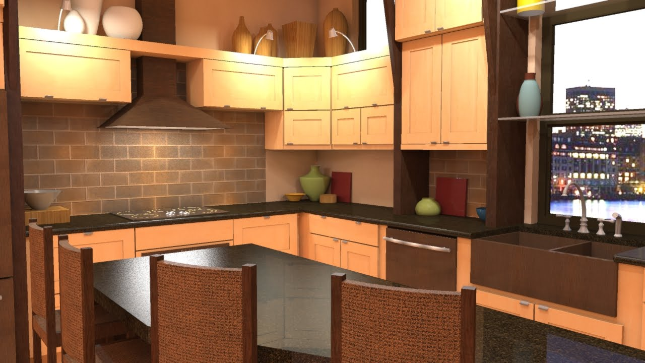Photo rendering with shaderlight Kitchen design software google sketchup