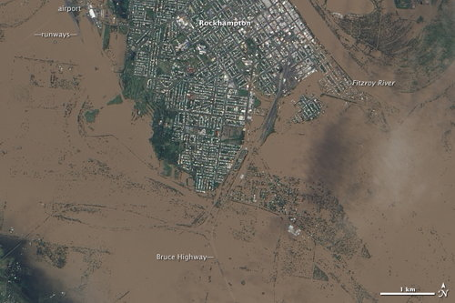Earth Observatory: Flooding in Australia: Rockhampton, QLD