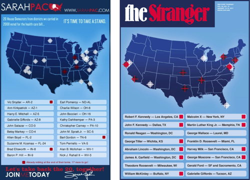 Sarah Palin's crosshairs map, The Stranger's crosshairs map