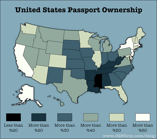 United States Passport Ownership Per Capita, by State
