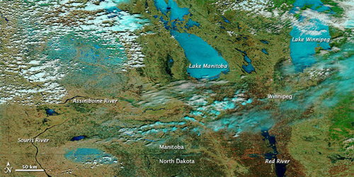 Spring Flooding in Manitoba (NASA EO)