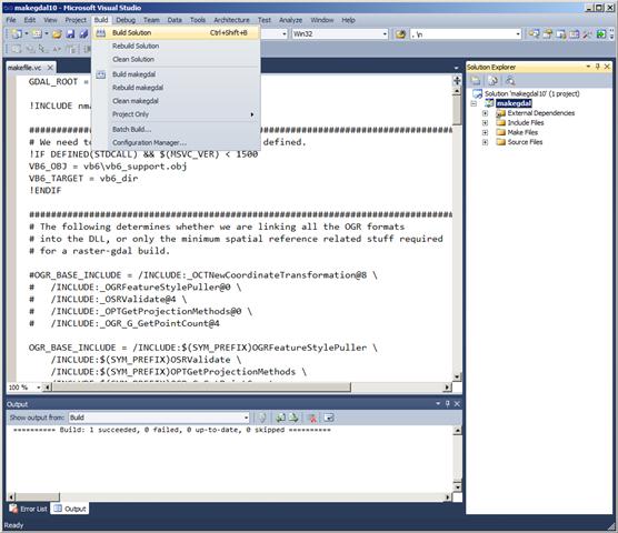 Building GDAL 1.8 in VS2010