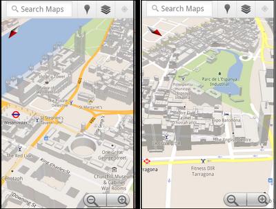 3D_Buildings Google Maps - London & Paris - Google Maps Mobile