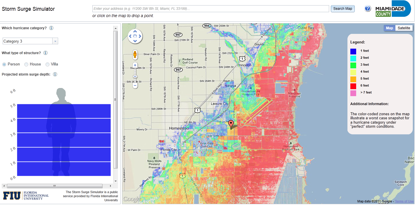 storm surge predictor miami dade county. storm surge simulator  mapsysinfo mapsysinfo