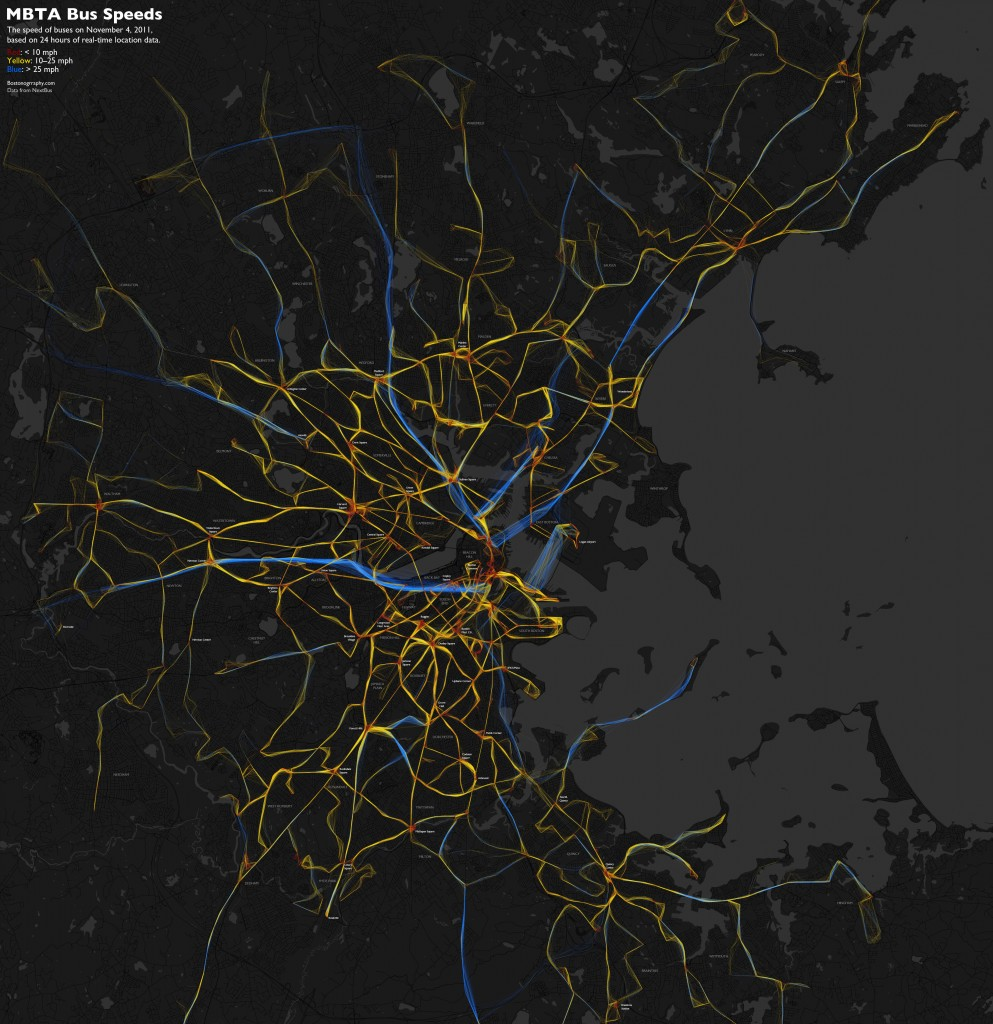 MBTA bus speed map