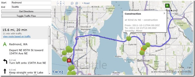 Finding Traffic Incidents Along a Route using the new Spatial Data Services Query